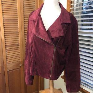 Rue21 microsuede wine moto zip lined jacket blazer